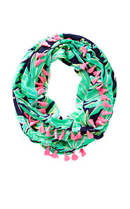 Riley Tassel Infinity Loop Scarf - Tiger Palm