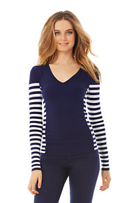 Adelaide Striped V-Neck Sweater