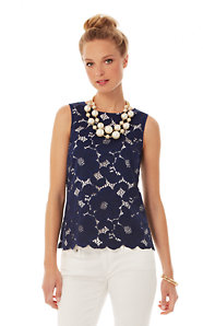 Iona Sleeveless Floral Lace Shell
