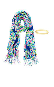 Printed Lilly Scarf & Bangle Set - Palm Reader