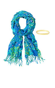 Printed Lilly Scarf & Bangle Set - Lilly's Lagoon
