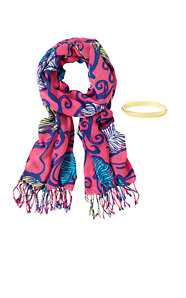 Printed Lilly Scarf & Bangle Set - Leaves In The Breeze