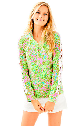 Skipper Printed Popover - Lace Sleeve