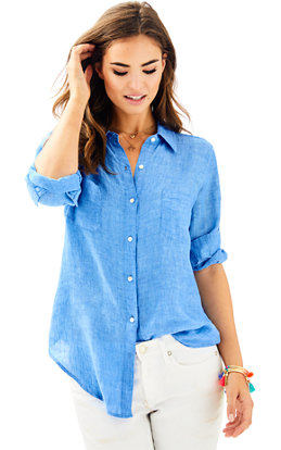 Sea View Button-Down Top