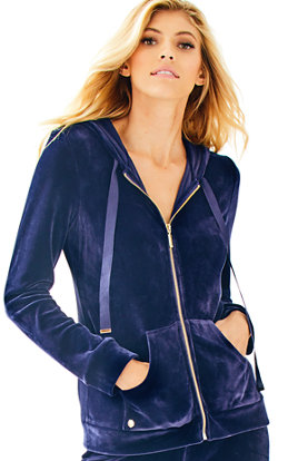Larina Solid Velour Zip Up Hoodie