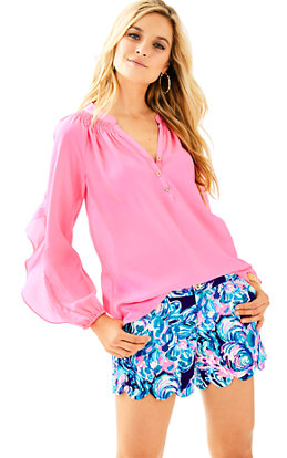 Elsa Silk Ruffle Top