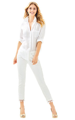 "28"" South Ocean Skinny Crop Pant with Lace"