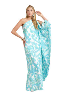 Lilly pulitzer blue gold long dress