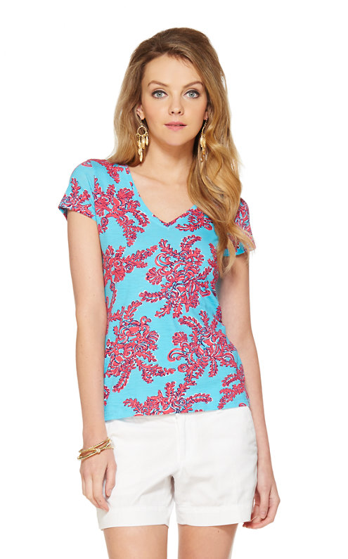 Michele Printed V-Neck Top