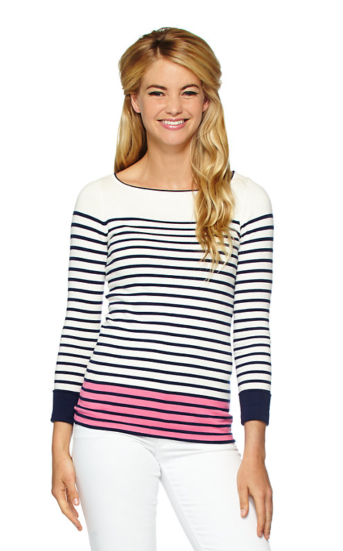 Maria Boatneck Striped Sweater