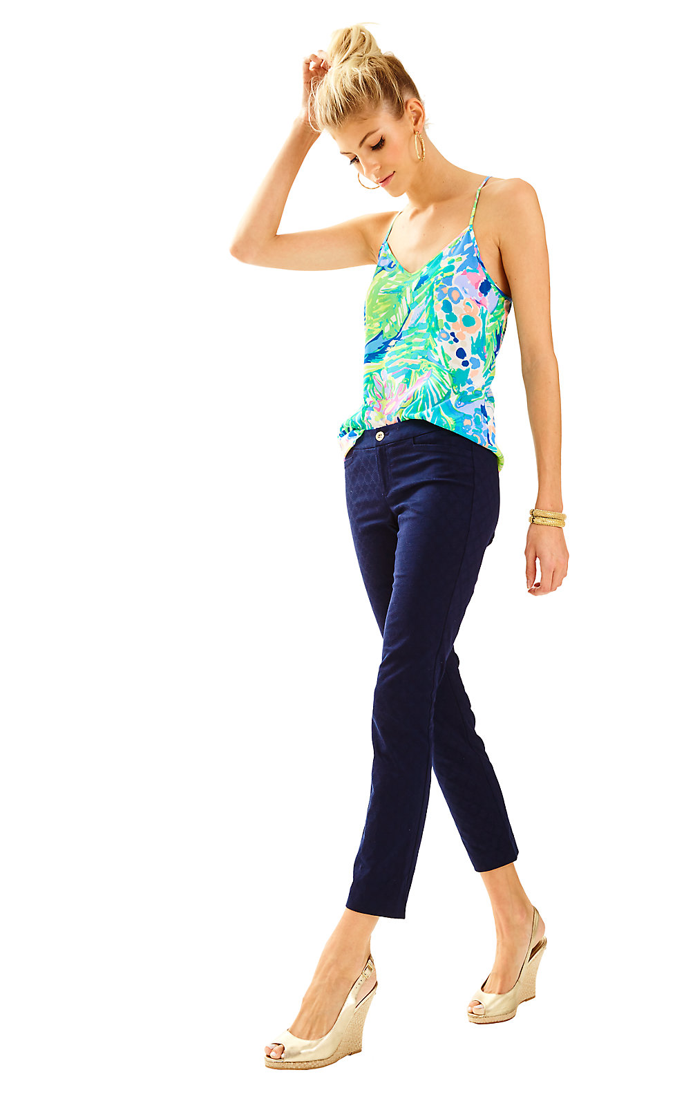 Lilly Pulitzer Kelly Textured Ankle Length Skinny Pant