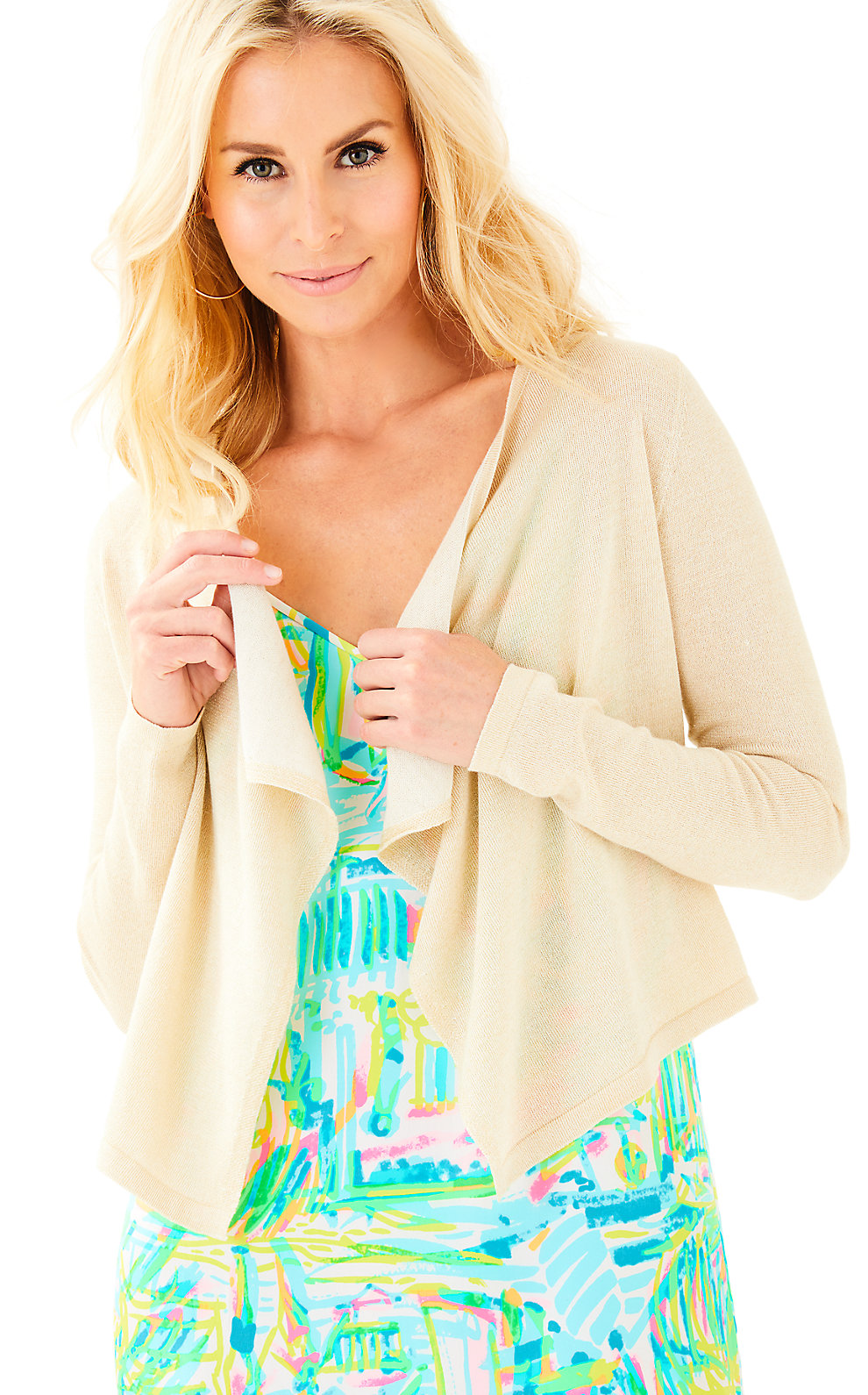 Lilly Pulitzer Colony Open Drape Front Cardigan