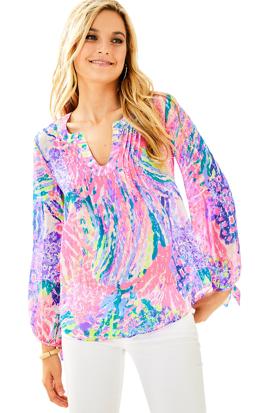 Lilly Pulitzer  COLBY SILK CLIP TOP