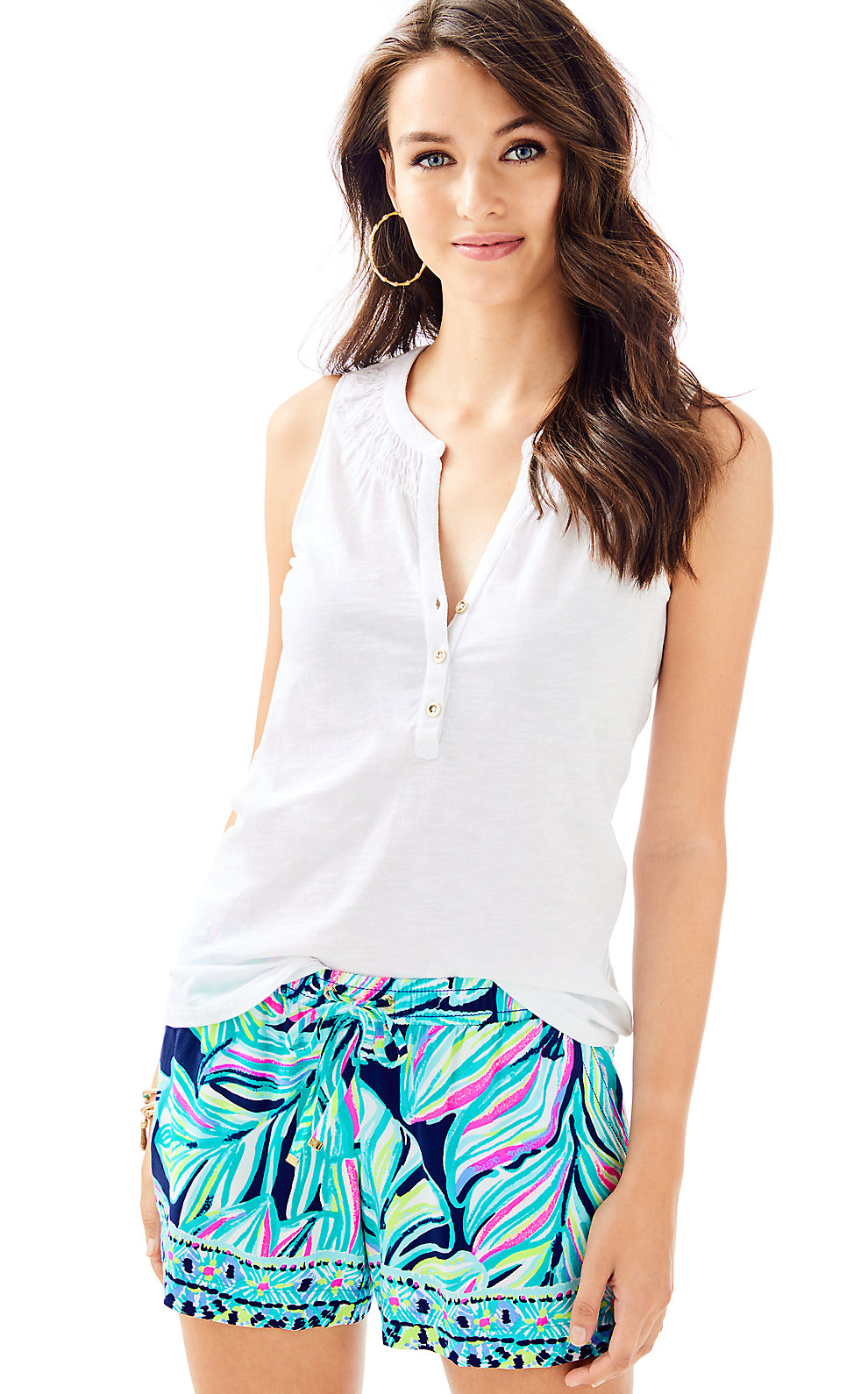 Womens Sleeveless Essie Top in Resort White from Lilly Pulitzer
